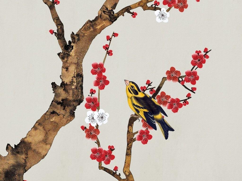 新中式手绘红梅花工笔花鸟玄关装饰挂画