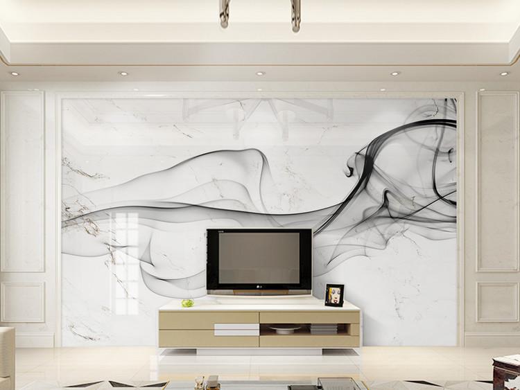 新中式抽象水墨烟雾山水艺术大理石背景墙