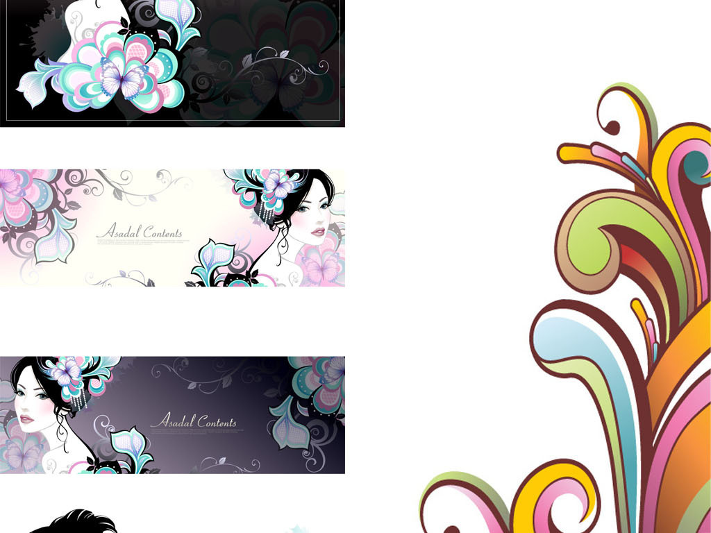 女人花蝴蝶手绘线描水彩banner广告条幅矢量分层素材