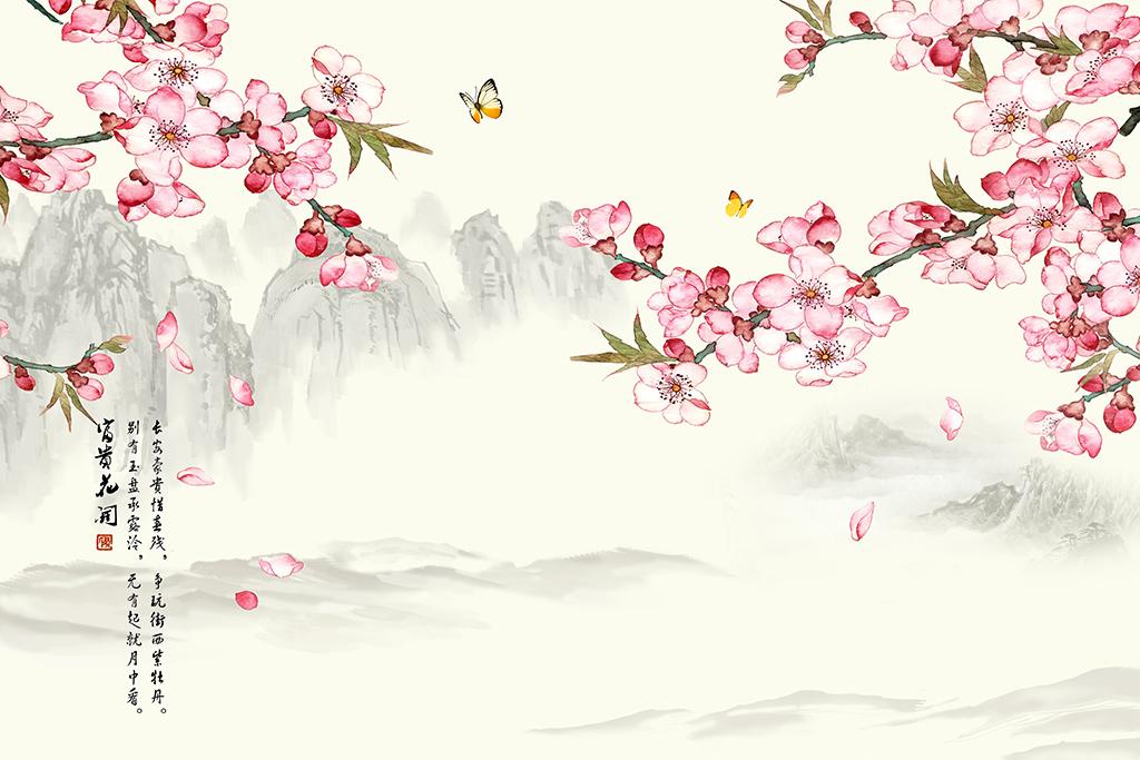 壁画墙纸墙贴桃花林桃花盛开桃花图片桃花背景桃花花瓣卡通桃花手绘