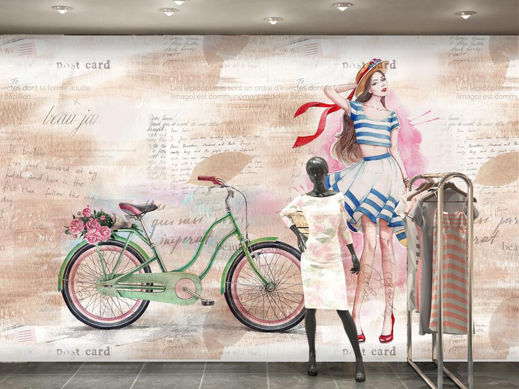 欧美风手绘美女服装店卖场背景墙