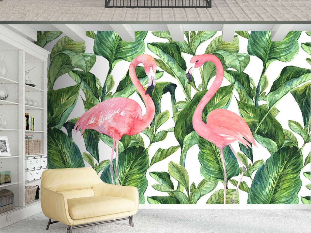 北欧绿叶植物火烈鸟手绘背景墙