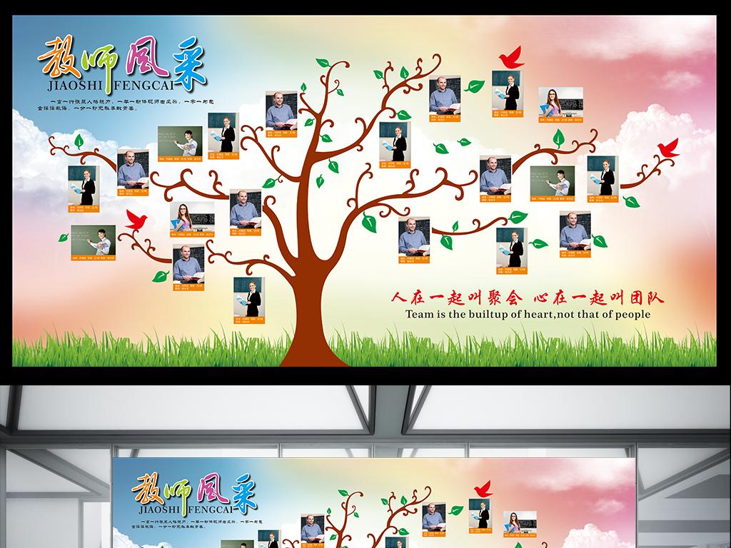 平面|广告设计 展板设计 学校展板设计 > 教师风采展示墙展板模板下载图片