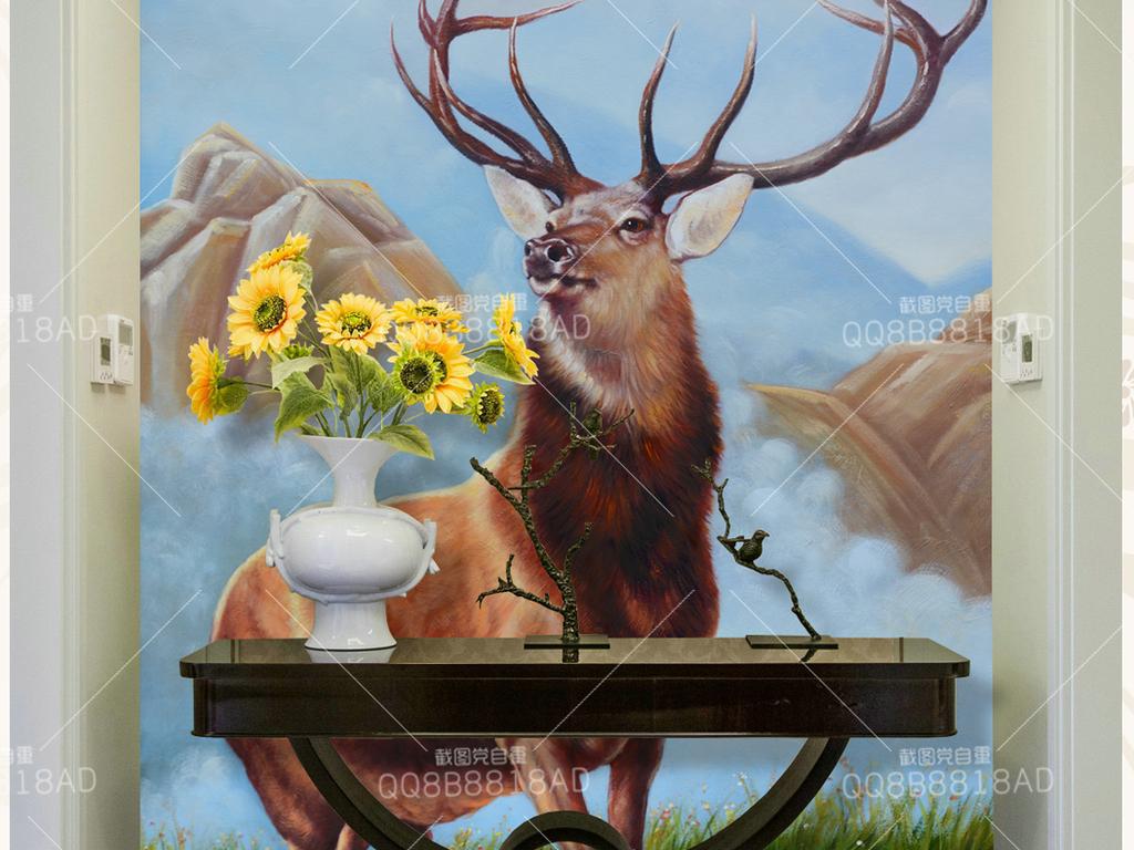 天山麋鹿风景纯手绘油画艺术玄关