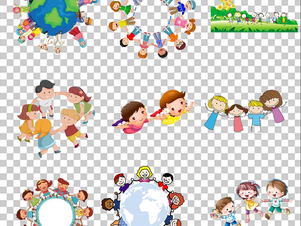 多款卡通儿童手拉手小孩学生幼儿开学季素材