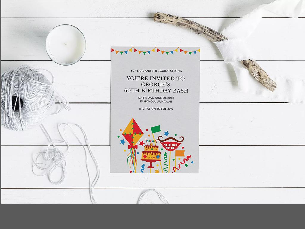 手绘鲜花城堡宴会邀请函儿童节日卡片明信片