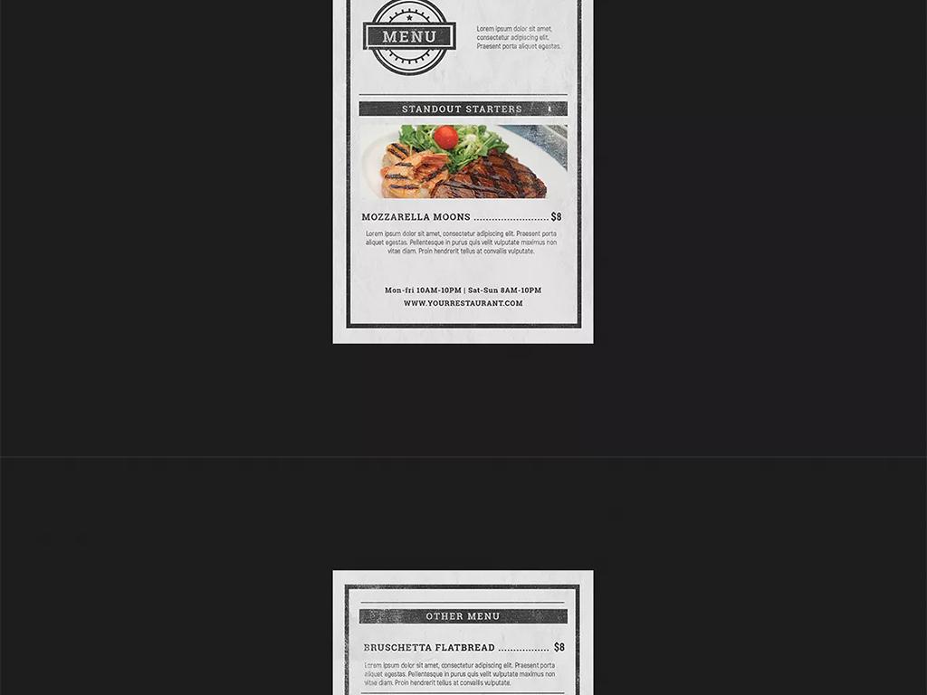 手绘餐厅快餐店菜单水牌桌牌设计模板