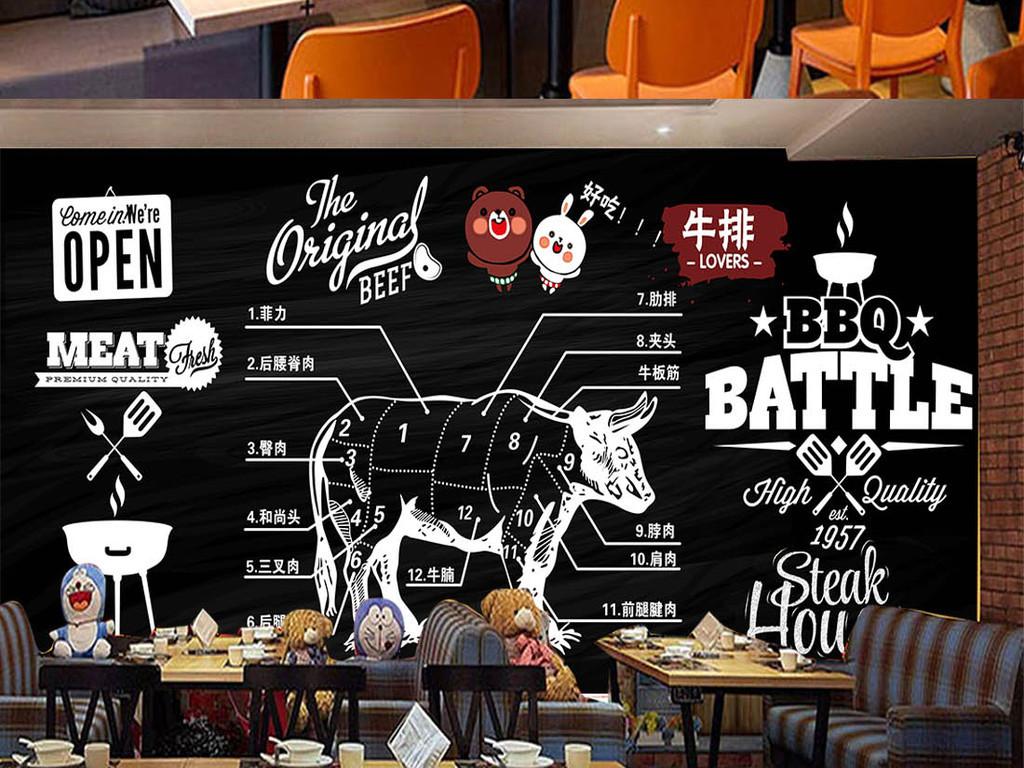 背景墙 工装背景墙 酒店|餐饮业装饰背景墙 > 黑板粉笔涂鸦烧烤店餐厅图片