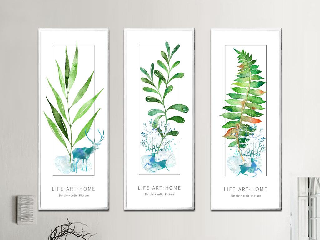 北欧风格极简创意手绘树叶森林麋鹿装饰画