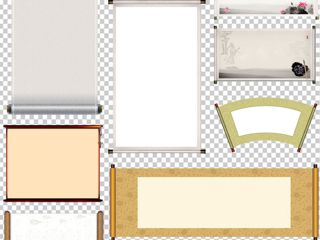 画轴羊皮纸牛皮纸古风手绘仿古卷轴边框