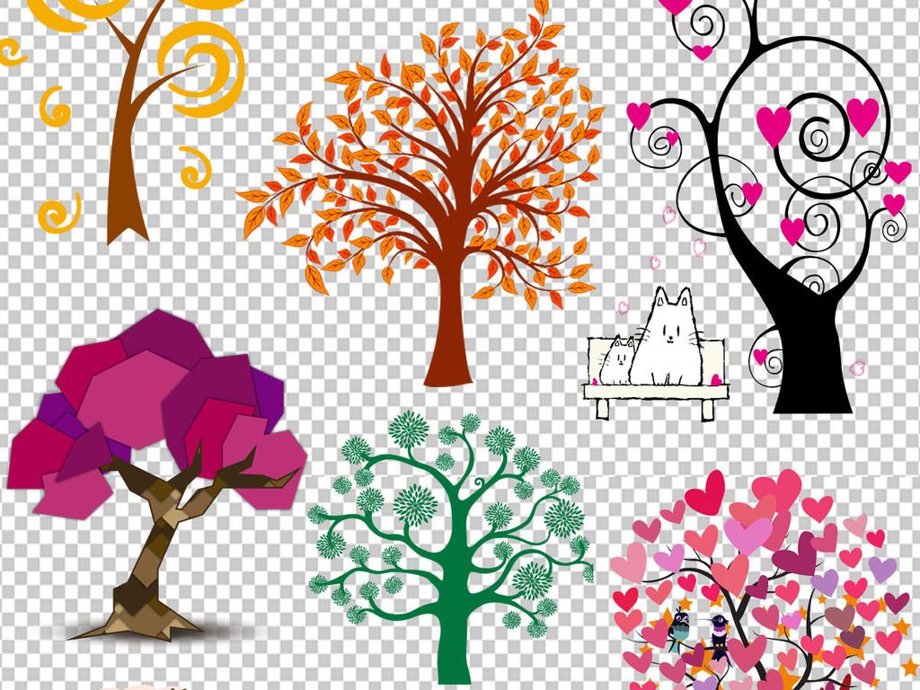 创意彩绘树海报设计png透明背景免扣素材