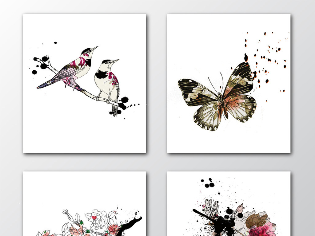 设计元素 自然素材 花卉 > 中国风手绘水彩画设计素材  中国风手绘
