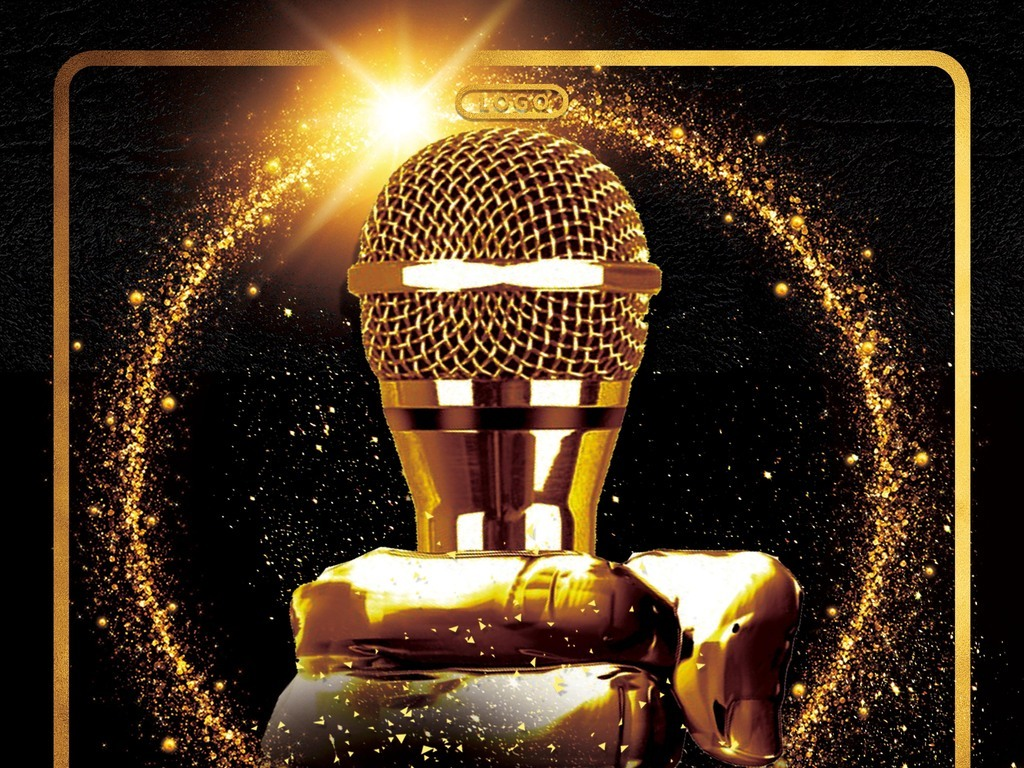 华丽黑金主播招募主持人歌手大赛创意海报