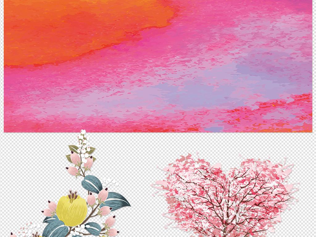 花朵蓝色红色水粉水墨背景素材PPT背景心情人节生日0905 6