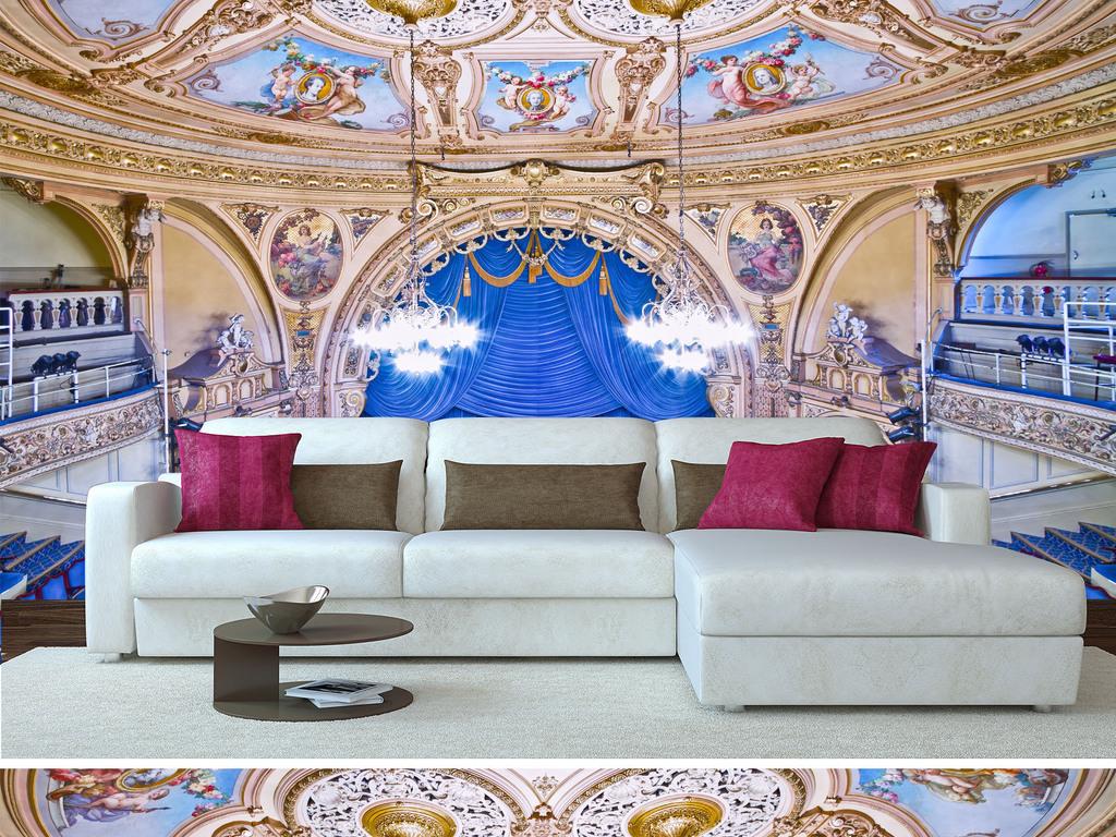 欧式剧院风元素_背景墙 电视背景墙 欧式电视背景墙 > 迪士尼剧院帘幕童话  素材图片