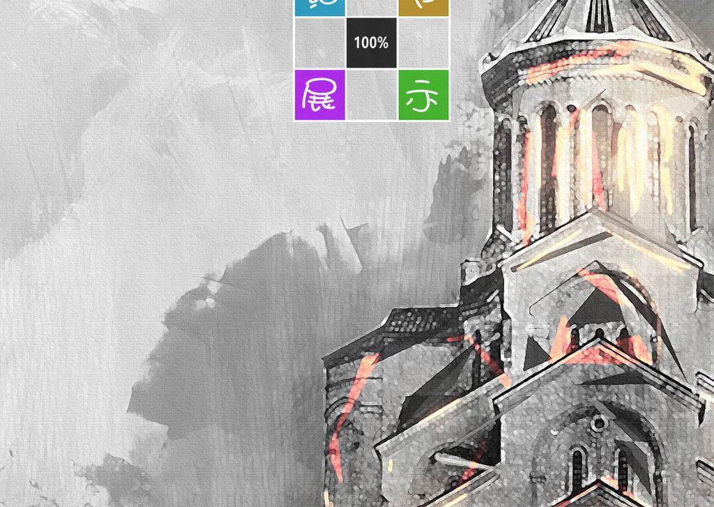 北欧复古手绘古堡建筑装饰画