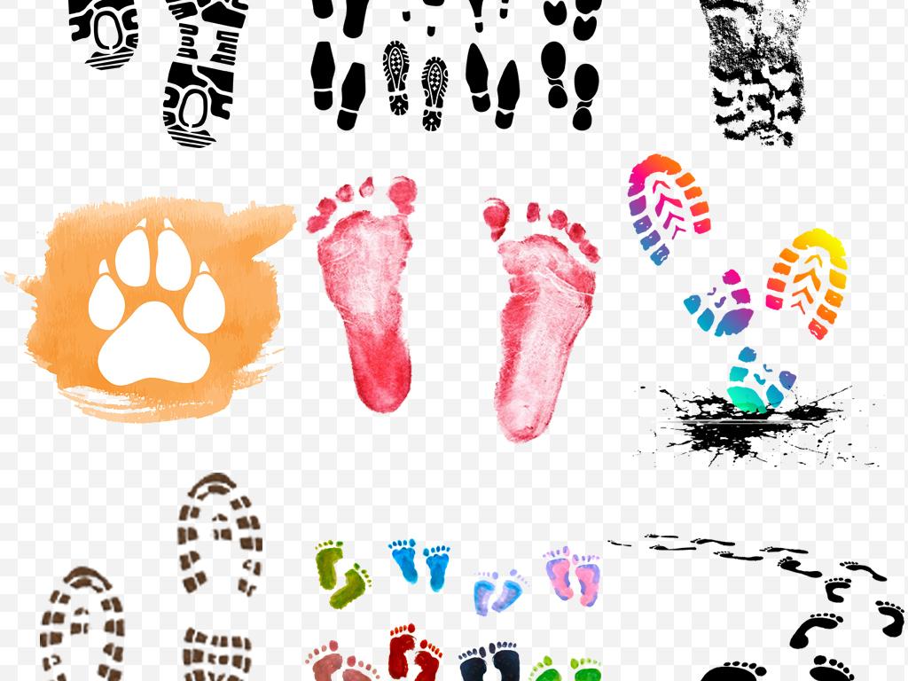 卡通彩色手绘人物脚印动物脚丫脚印鞋印素材
