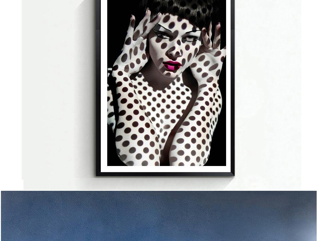 红唇手绘抽象美女半身绘画人物装饰画光影系