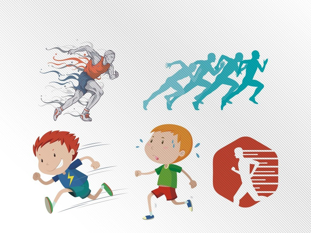 卡通可爱人物奔跑矢量素材run飞奔快跑