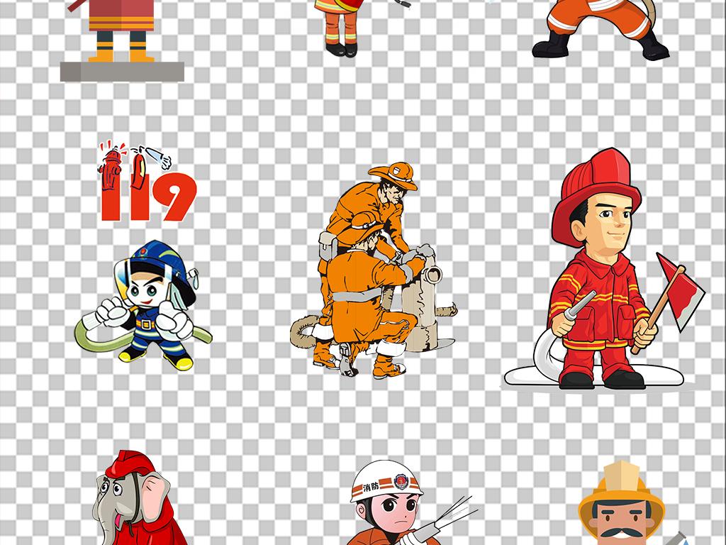 设计元素 人物形象 帅哥 > 卡通消防员消防安全灭火警钟救火png素材