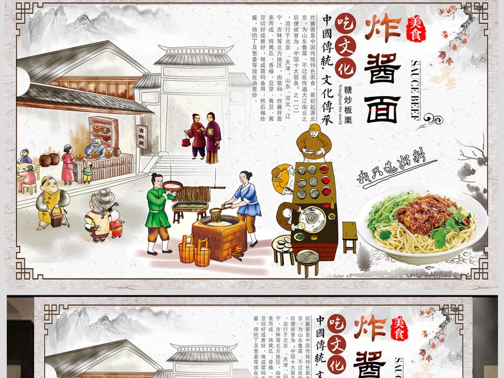 手绘古代人物传统炸酱面美食文化餐厅背景墙