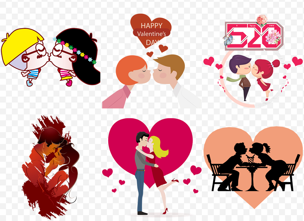 手绘卡通人物爱情情侣接吻kiss设计元素