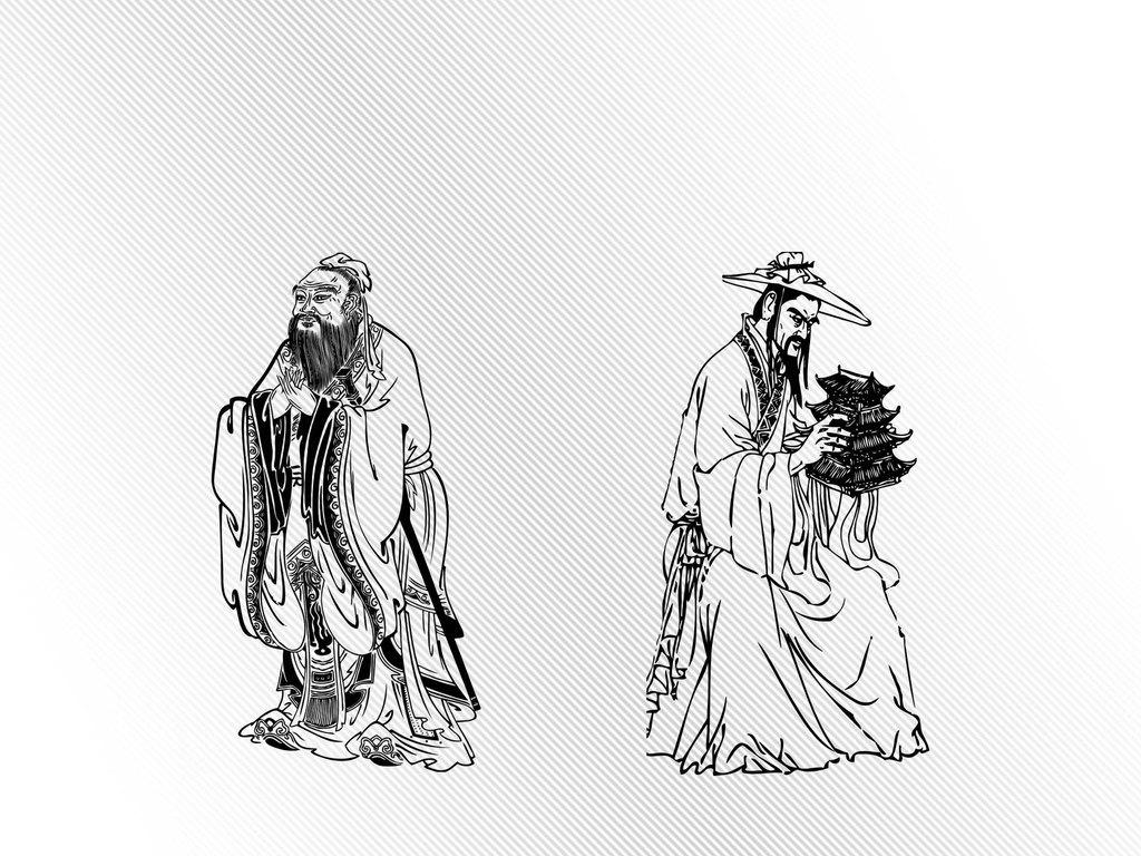 孔圣孔子先圣鲁班古代人物矢量素材人物挂画