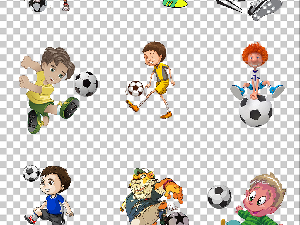 卡通踢足球运动人物png海报素材