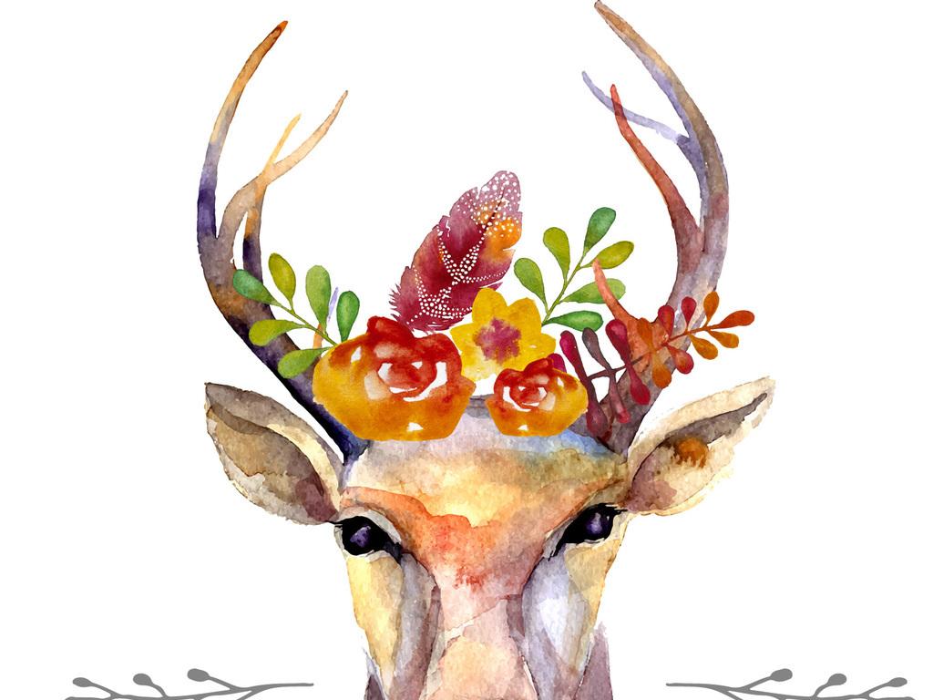 新款手绘水彩麋鹿手机壳图案