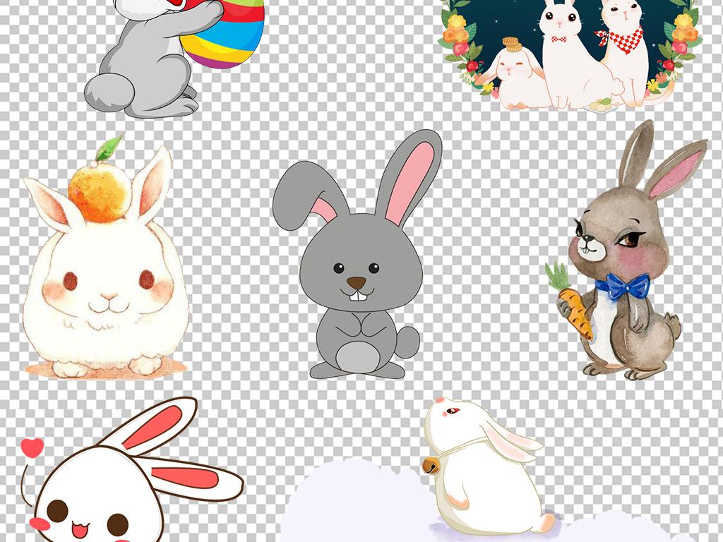 可爱卡通手绘兔子动物设计免扣素材