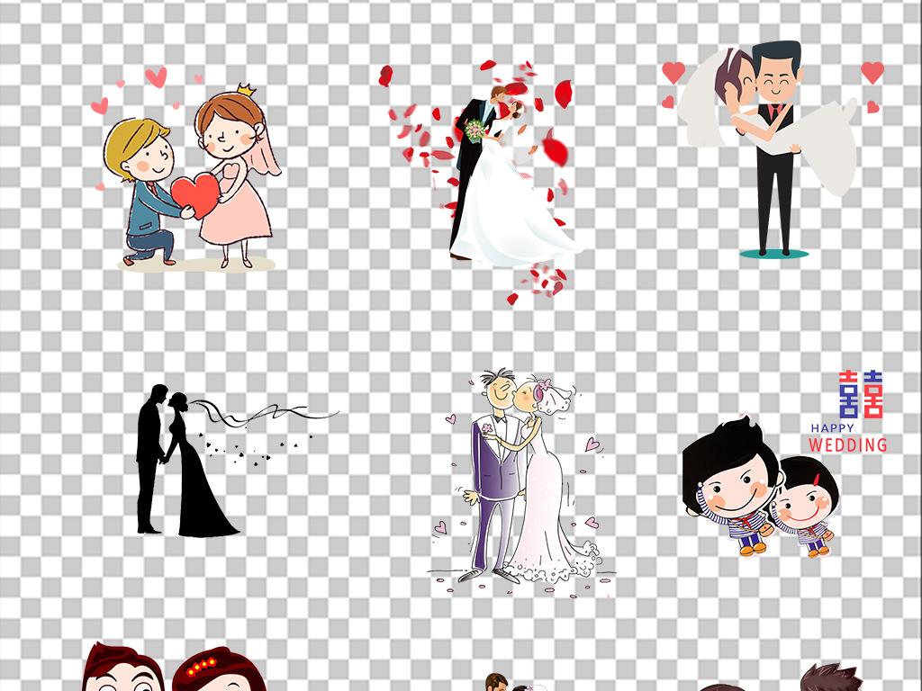婚庆新人剪影结婚手绘