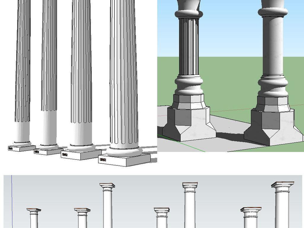欧式建筑构件罗马柱子su模型图片