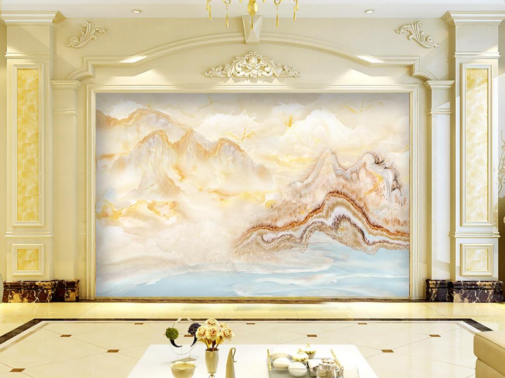 大气大理石山水流水生财电视背景墙图片