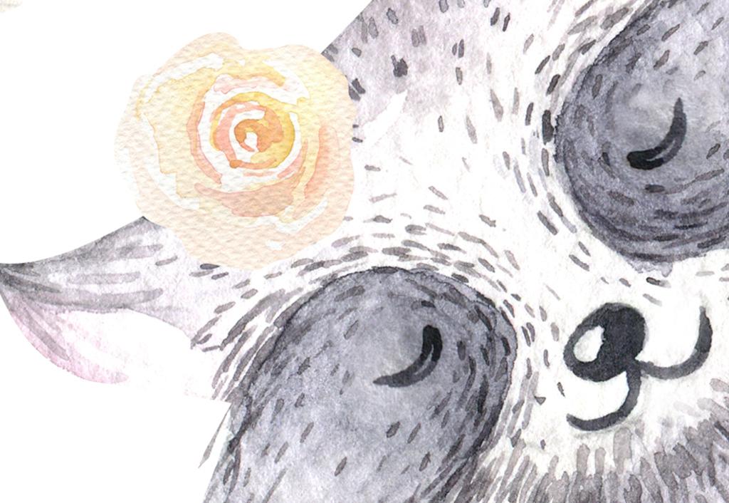 现代简约手绘北欧水彩卡通动物儿童房背景墙