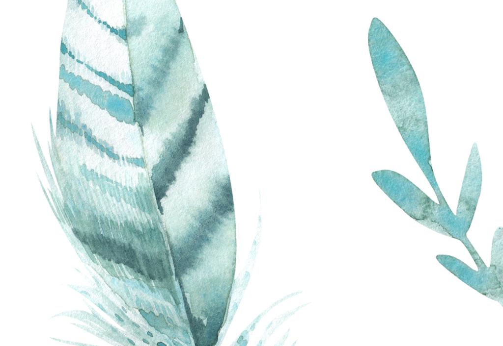 现代简约手绘北欧水彩卡通叶子儿童房背景墙
