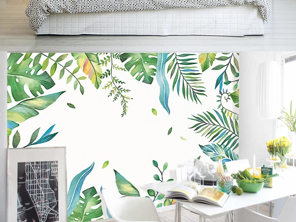 手绘电视背景墙 > 北欧手绘清新水彩芭蕉棕榈叶客厅电视背景墙  素材