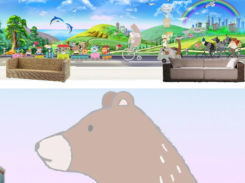手绘卡通动物乐园主题空间全屋背景墙