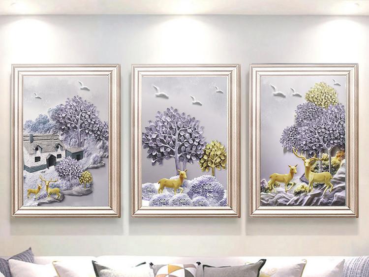 现代立体浮雕山水麋鹿小清新北欧装饰画