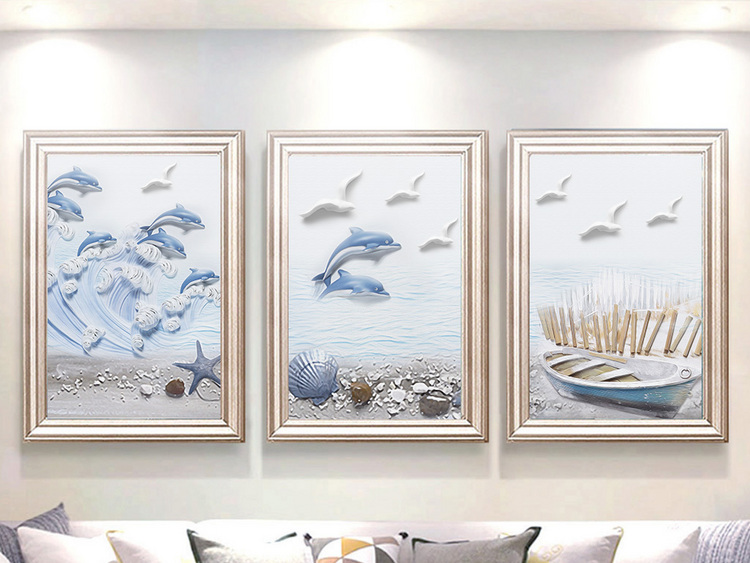 现代手绘浮雕地中海海豚小清新北欧装饰画