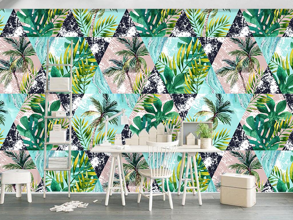 北欧手绘几何涂鸦热带植物客厅电视背景墙