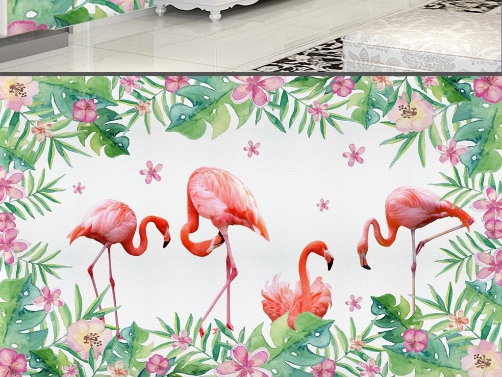 现代简约手绘热带植物花卉火烈鸟背景墙
