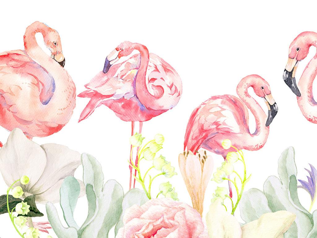 现代手绘火烈鸟电表箱装饰画花卉挂画