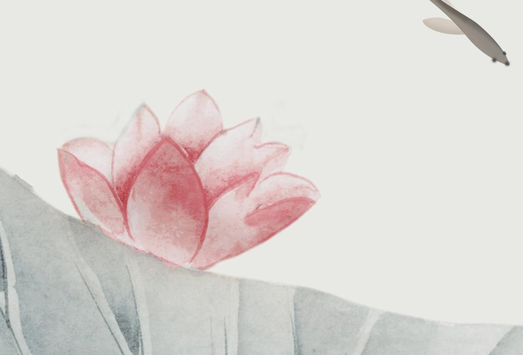 新中式手绘工笔荷花莲花电视背景墙壁画图片