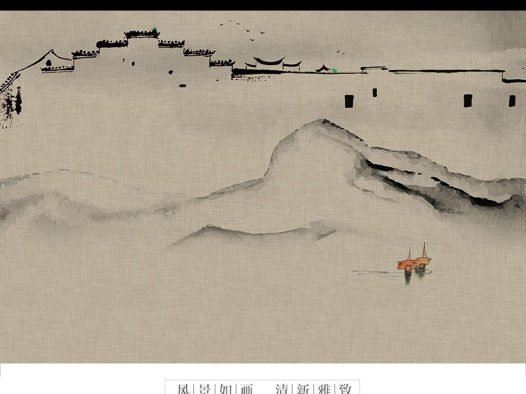 新中式水墨抽象手绘徽派马头山水背景墙