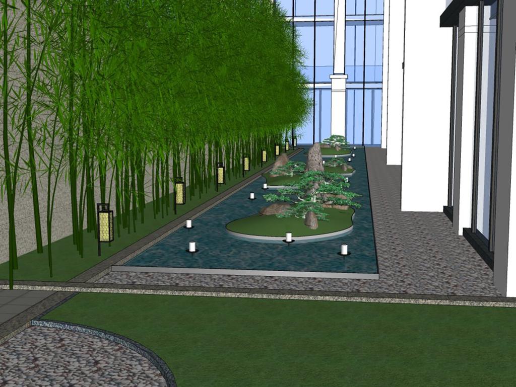 现代中式庭院景观设计图片下载skp素材 其他模型