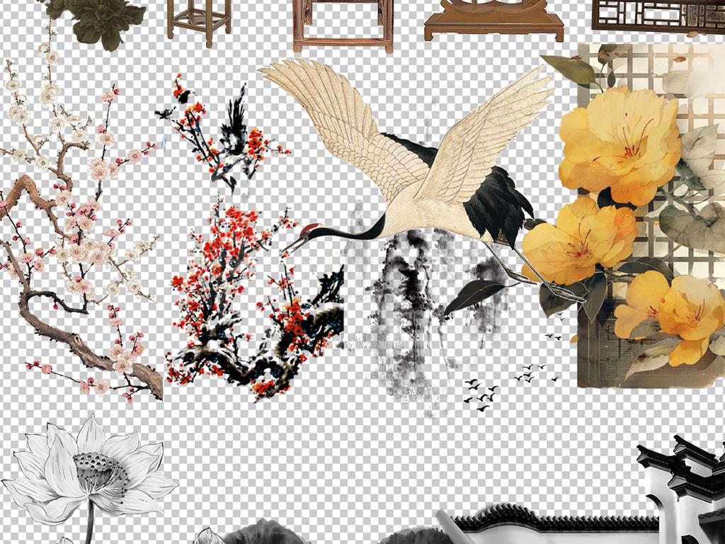 中国风古风花卉水墨素材免抠图PNG素材图片下载png素材 中国风素材图片
