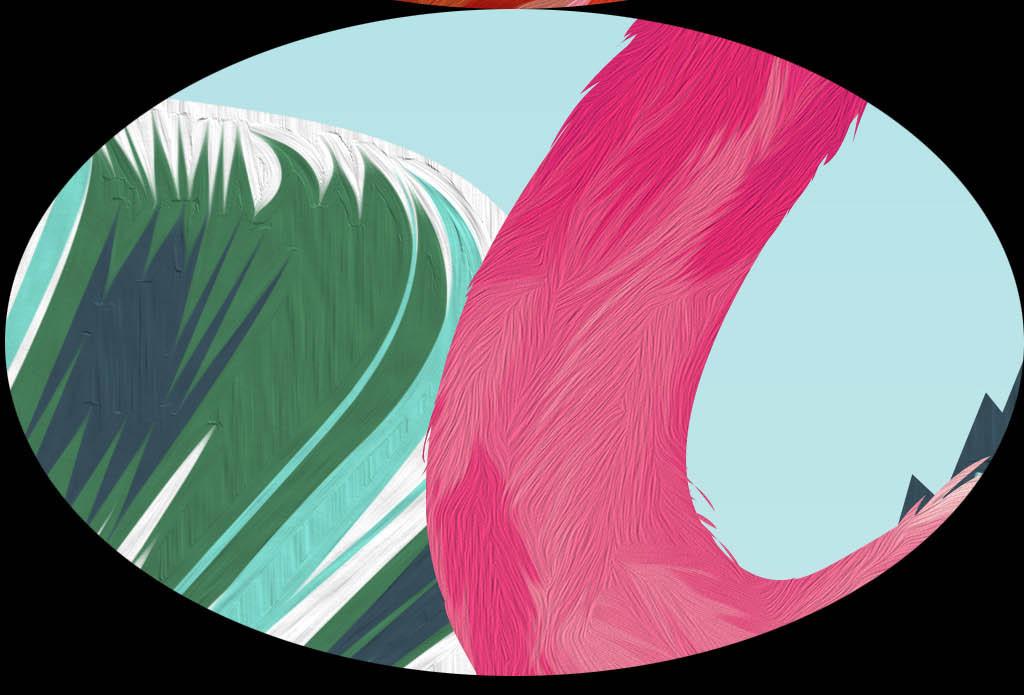 北欧手绘抽象树火烈鸟装饰画