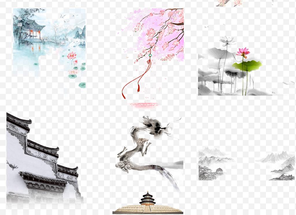 中国风古风风景画水墨山水画png背景素材