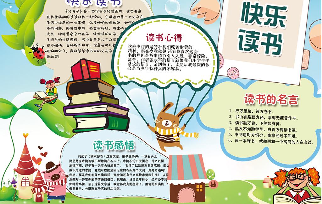 寒暑假卡通小学生读书小报儿童阅读手抄报