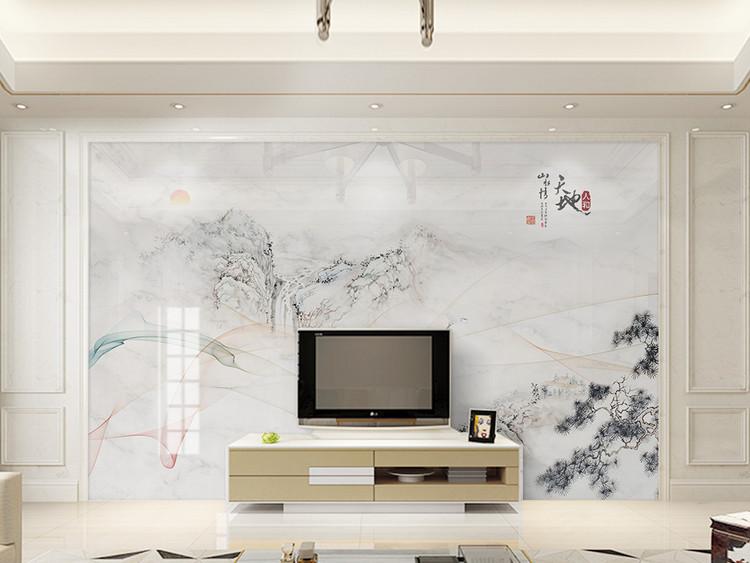 现代简约抽象线条水墨山水大理石背景墙